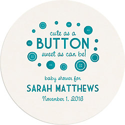 Button Baby Shower Custom Coasters