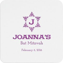 Decorative Floral Star Mitzvah Custom Coasters