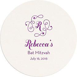 Flourish Monogram Mitzvah Custom Coasters