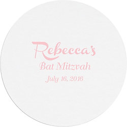 French Script Mitzvah Custom Coasters