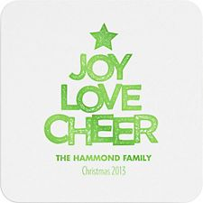 Joy Love Cheer Custom Coasters