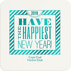 New Year Typography Custom Coasters