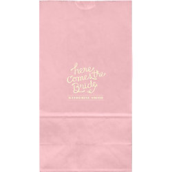 Here Comes The Bride Large Custom Favor Bags - Set of 50