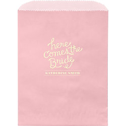 Here Comes The Bride Custom Wax Lined Bags - Set of 50