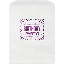 Birthday Party Confetti Custom Wax Lined Bags