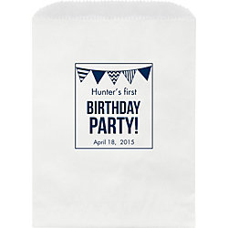 Birthday Party Flags Custom Wax Lined Bags