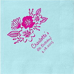 Floral Custom Cocktail Napkins