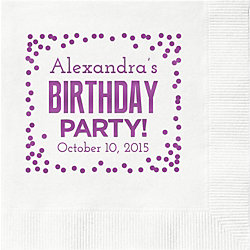 Birthday Party Confetti Custom Cocktail Napkins