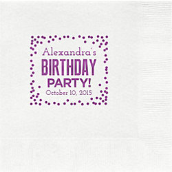 Birthday Party Confetti Custom Lunch Napkins