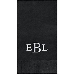 Times Three Letter Monogram Custom Guest Napkins