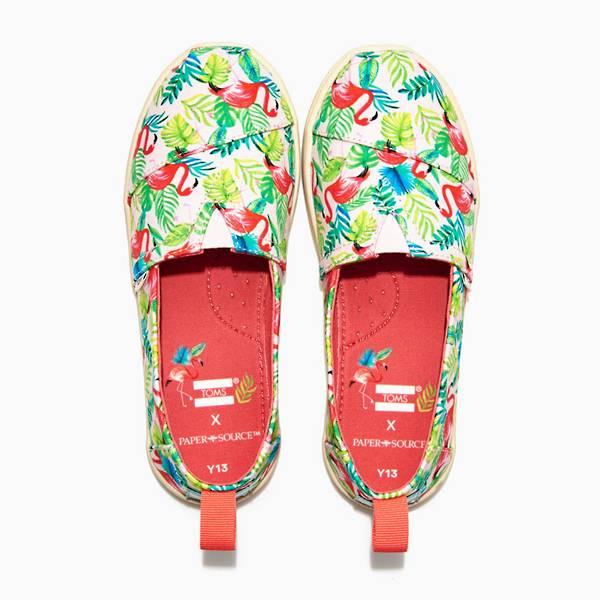 Toms Kids Flamingo Espadrilles shoes with Paper Source design.