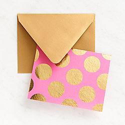 Gold Dots On Fuchsia Stationery