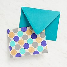 Large Gold and Blue Dots Stationery
