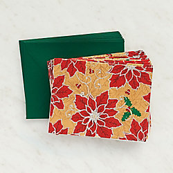 Gold Glitter Poinsettia Holiday Cards