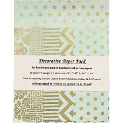 Mint & Gold Lokta Fine Paper Pack