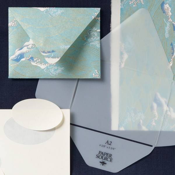 Envelope template kit used to trace, cut and assemble envelopes for every occasion.