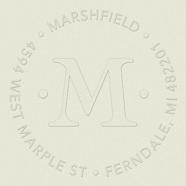 Single Initial Monogram Return Address Embosser