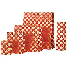 Gold Big Boom on Red Gift Bags