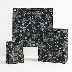 Black and White Snowflake Gift Bags - Medium