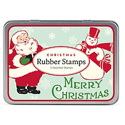 Cavallini Santa Mini Rubber Stamp Set