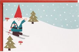 Skiing Gnome A9 Printable Party Invitations