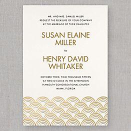 Gold Scallops Wedding Invitations