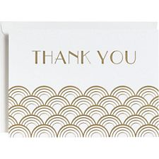 Gold Foil Scallops 4 Bar Thank You Cards