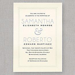 Embossed Beaded Border Wedding Invitation