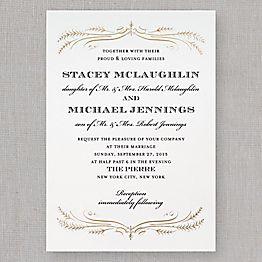 Gold Foil Filigree Wedding Invitation