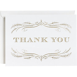 Gold Foil Filigree 4 Bar Thank You Notes