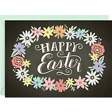 Chalk Floral Wreath Easter Card