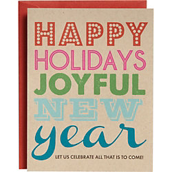 Joyful New Year Typography A2 Holiday Cards