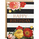 Floral Stripe Foil A6 Birthday Card
