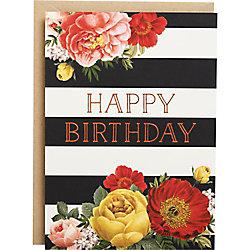 Floral Stripe Foil A6 Birthday Card