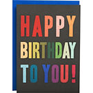 Multicolor Typography A6 Birthday Card