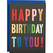Multicolor Typography A6 Birthday Card