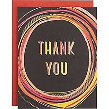 Gold Foil Black Scribble Circle A2 Thank You Notes