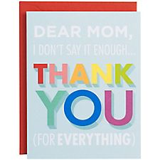 Thank You for Everything A2 Mother's Day Card