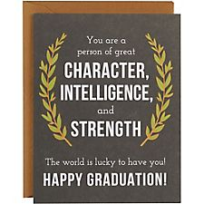 Character, Intelligence and Strength A2 Graduation Card