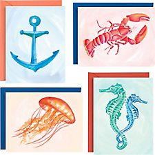 Assorted Watercolor Sea Life A2 Stationery