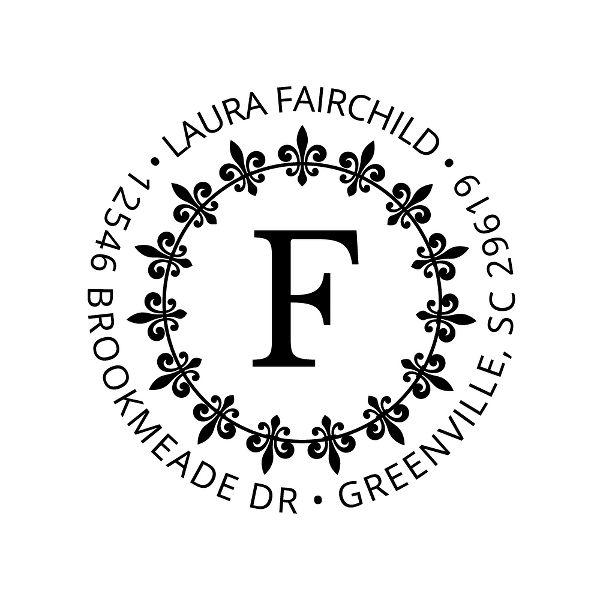 Fleur-de-Lis Circle Custom Stamp