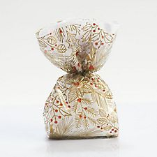 Gold Flowers Red Berries Cellophane Bags
