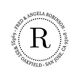 Dotted Circle Monogram Custom Stamp