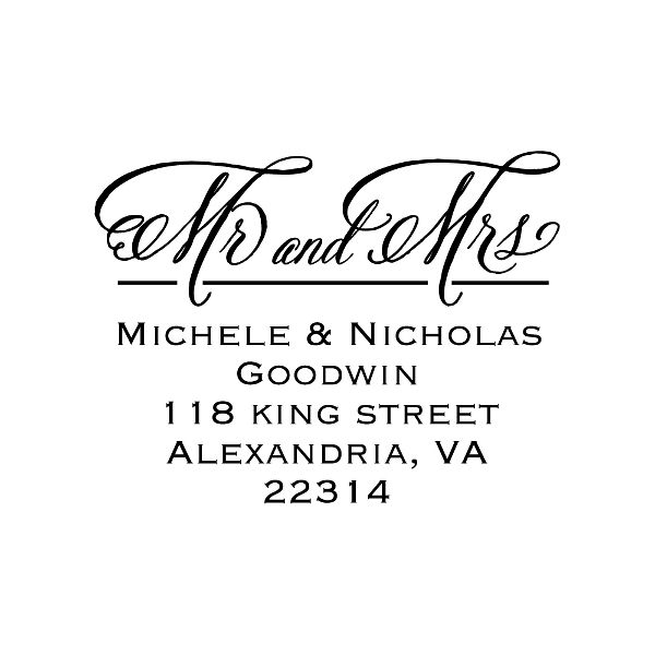 Mr. and Mrs. Formal Script Custom Stamp