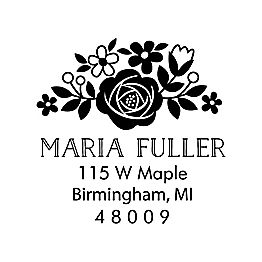 Floral Address Custom Stamp