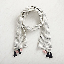 White Cotton Tassel Scarf