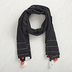 Black Cotton Tassel Scarf