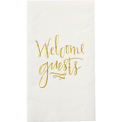 Welcome Guests Gold Guest Towel