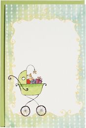 Baby Buggy Glitter Printable Party Invitations