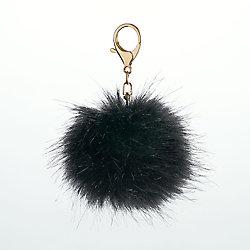 Fur Pom Keychain - Black